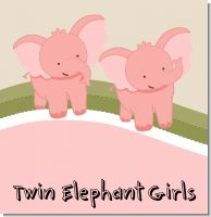 Twin Elephant Girls Baby Shower Theme