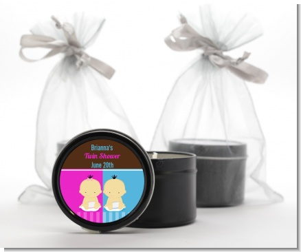 Twin Babies 1 Boy and 1 Girl Asian - Baby Shower Black Candle Tin Favors