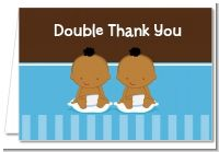 Twin Baby Boys African American - Baby Shower Thank You Cards