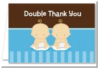 Twin Baby Boys Caucasian - Baby Shower Thank You Cards