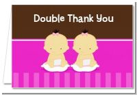 Twin Baby Girls Asian - Baby Shower Thank You Cards
