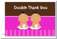 Twin Baby Girls Hispanic - Baby Shower Thank You Cards
