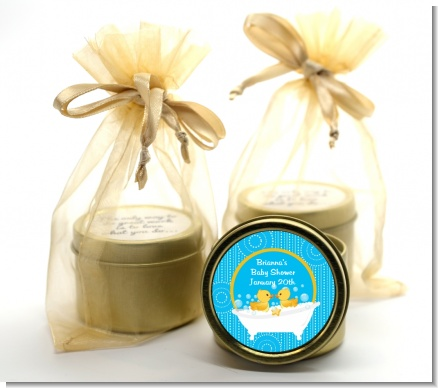 Twin Duck - Baby Shower Gold Tin Candle Favors