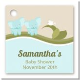 Twin Elephant Boys - Personalized Baby Shower Card Stock Favor Tags