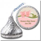 Twin Elephant Girls - Hershey Kiss Baby Shower Sticker Labels