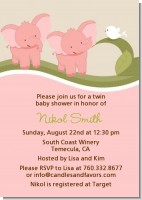 Twin Elephant Girls - Baby Shower Invitations