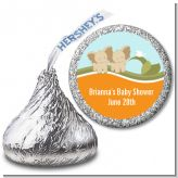 Twin Elephants - Hershey Kiss Baby Shower Sticker Labels