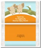 Twin Elephants - Personalized Popcorn Wrapper Baby Shower Favors