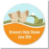 Twin Elephants - Round Personalized Baby Shower Sticker Labels