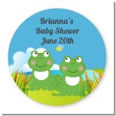 Twin Frogs - Round Personalized Baby Shower Sticker Labels