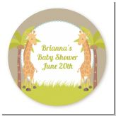 Twin Giraffes - Round Personalized Baby Shower Sticker Labels
