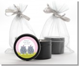 Twin Hippo Girls - Baby Shower Black Candle Tin Favors