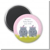 Twin Hippo Girls - Personalized Baby Shower Magnet Favors