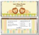 Twin Lions - Personalized Baby Shower Candy Bar Wrappers