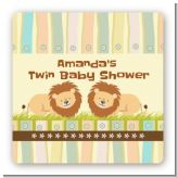 Twin Lions - Square Personalized Baby Shower Sticker Labels