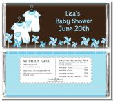 Twin Little Boy Outfits - Personalized Baby Shower Candy Bar Wrappers