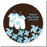 Twin Little Boy Outfits - Round Personalized Baby Shower Sticker Labels