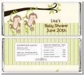 Twin Monkey - Personalized Baby Shower Candy Bar Wrappers