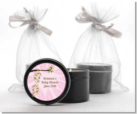 Twin Monkey Girls - Baby Shower Black Candle Tin Favors