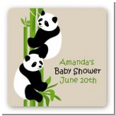 Twin Pandas - Square Personalized Baby Shower Sticker Labels