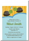 Twin Turtle Boys - Baby Shower Petite Invitations