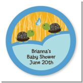 Twin Turtle Boys - Round Personalized Baby Shower Sticker Labels