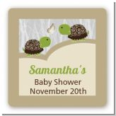 Twin Turtles - Square Personalized Baby Shower Sticker Labels