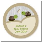 Twin Turtles - Round Personalized Baby Shower Sticker Labels