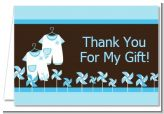 Twin Little Boy Outfits - Baby Shower Thank You Cards