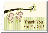 Twin Monkey - Baby Shower Thank You Cards