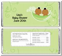 Twins Two Peas in a Pod African American - Personalized Baby Shower Candy Bar Wrappers
