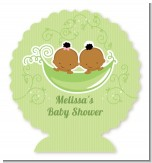 Twins Two Peas in a Pod African American - Personalized Baby Shower Centerpiece Stand