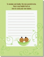 Twins Two Peas in a Pod African American - Baby Shower Notes of Advice