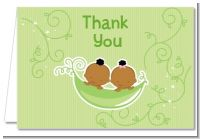 Twins Two Peas in a Pod African American - Baby Shower Thank You Cards