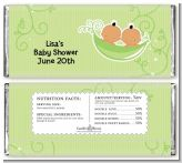 Twins Two Peas in a Pod Hispanic - Personalized Baby Shower Candy Bar Wrappers