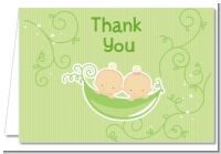 Twins Two Peas in a Pod Caucasian - Baby Shower Thank You Cards