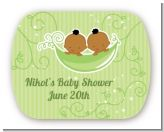 Twins Two Peas in a Pod African American - Personalized Baby Shower Rounded Corner Stickers