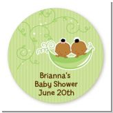Twins Two Peas in a Pod African American - Round Personalized Baby Shower Sticker Labels