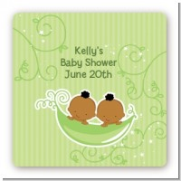 Twins Two Peas in a Pod African American - Square Personalized Baby Shower Sticker Labels