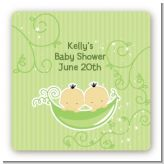 Twins Two Peas in a Pod Asian - Square Personalized Baby Shower Sticker Labels