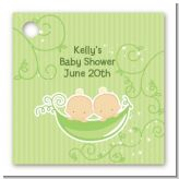 Twins Two Peas in a Pod Caucasian - Personalized Baby Shower Card Stock Favor Tags