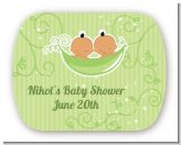 Twins Two Peas in a Pod Hispanic - Personalized Baby Shower Rounded Corner Stickers