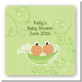 Twins Two Peas in a Pod Hispanic - Square Personalized Baby Shower Sticker Labels
