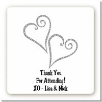 Hearts - Square Personalized Bridal Shower Sticker Labels