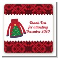 Ugly Sweater - Square Personalized Christmas Sticker Labels thumbnail