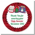 Ugly Sweater - Round Personalized Christmas Sticker Labels thumbnail