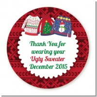 Ugly Sweater - Round Personalized Christmas Sticker Labels