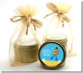 Under the Sea African American Baby Boy Snorkeling - Baby Shower Gold Tin Candle Favors