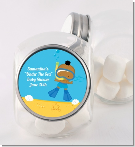 Under the Sea African American Baby Boy Snorkeling - Personalized Baby Shower Candy Jar
