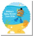 Under the Sea African American Baby Boy Snorkeling - Personalized Baby Shower Centerpiece Stand thumbnail